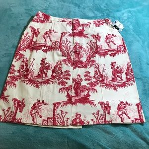 Mossimo Asian Motif Skirt Red & White Size 14